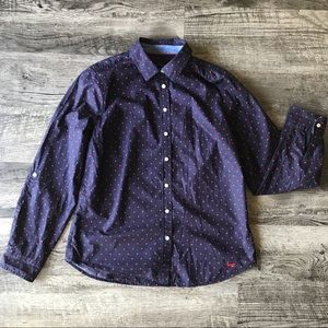 Talbots Navy and Red Polka Dot Button Up Blouse